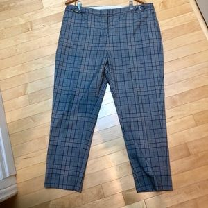 Checkered ankle pant (white, black and blue) sz 16